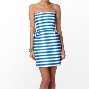 Lilly Pulitzer Blue/White Striped Peplum Dress 2